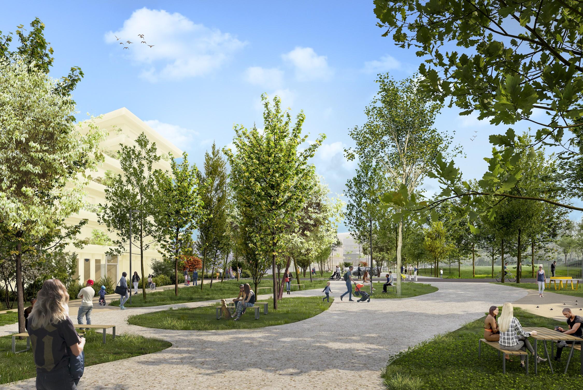 Vue de la lisière entre le nouveau quartier et le parc de L'Aire des Vents ©TVK - SOLIDEO � Image My Lucky Pixel